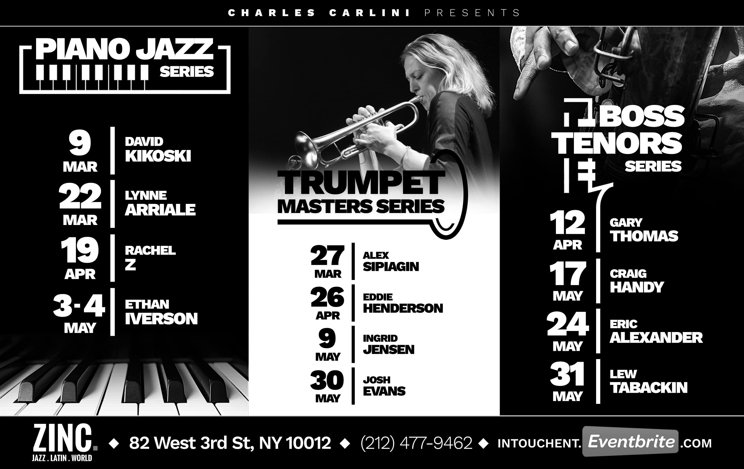 Zinc Announced Today Its Spring Jazz Series Lineup